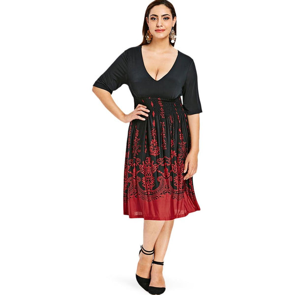 Plus Size Shirred Graphic Dress