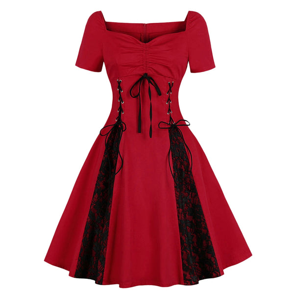 Plus Size Lace Panel Sweetheart Neck Vintage Dress
