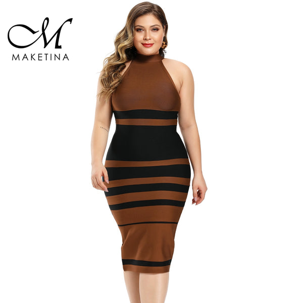 Maketina 2020 Women Round Neck Plus Size Bandage Dress Summer Brown Striped Bandage Dress Sexy Party Plus Size Bodycon Dress