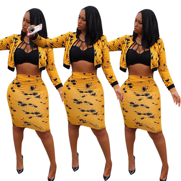 Plus Size Sexy Two Piece Matching Set Autumn Black Yellow Print Clothes Long Sleeve Front Zipper Crop Top+Midi Skirts Set