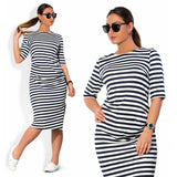 Women's Plus Size Horizontal Striped Print Half Sleeve Loose Knee Length Dress