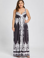 Plus Size 5XL Arab Print Spaghetti Strap Boho Maxi Long Dress Women Big Size Sleeveless Exotic Beach Summer Dress