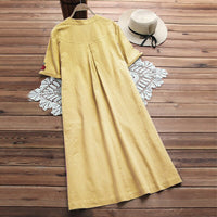 Plus Size Dress Women Embroidery Dresses Vintage Vestidos Ladies Beach Party Sundress L-5XL