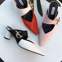 Sexy Women's Pumps High Round Heel Fashion Square Toe Metal Decoration Casual Shoes