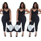 Women Rompers Black Sexy Bodysuit Plus Size XXL 3XL 4XL Spaghetti Strap Casual Summer Overalls Womens Jumpsuits