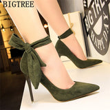 dress shoes women stiletto moccasin bigtree shoes Butterfly knot new arrival 2019 green shoes for women luxury high heels buty