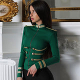 Women Jackets Spring Autumn Coat Party High Quality Green Plus Size Elegant Long Sleeve Bandage Jacket