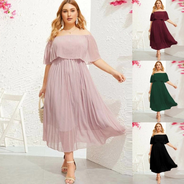 Party Dresses Women Plus Size Short Sleeve Woman Beach Dress Summer Off Shoulder Irregular Hem Chiffon Plus Size Dress#g2