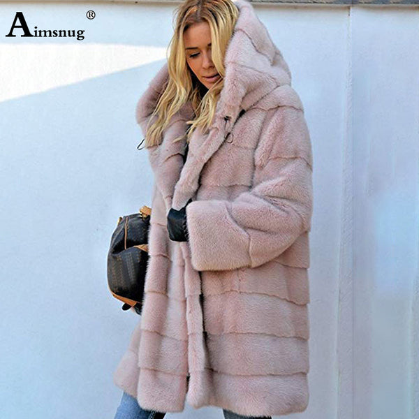 Plus Size 4XL 5XL Europe and America Medium Long Section Solid Pink Loose Plush Hooded Coat Faux Fur Winter Women Warm Jacket