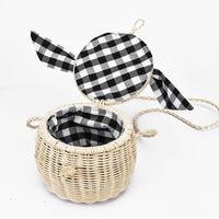 New rattan bag handbag lattice silk scarf portable straw bag cylinder small jar beach bag