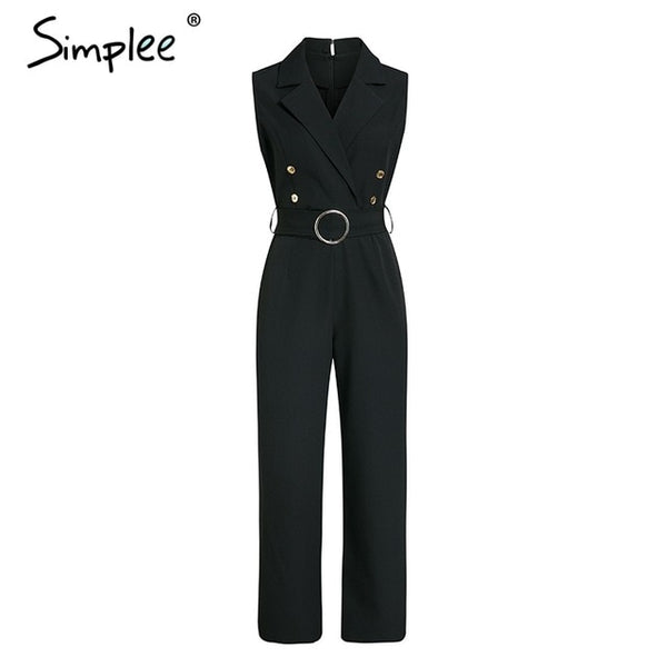Elegant double breasted plus size jumpsuit women Summer sashes striped white jumpsuits Casual female wide leg overalls