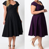 Women's Summer Vintage 50s Rockabilly High Waist Short Sleeve Dress Plus Size