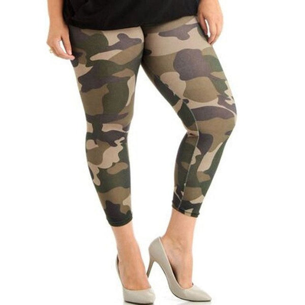 Elastic Skinny Camouflage Legging Plus Size High Waist Fitness Women Jegging Pants