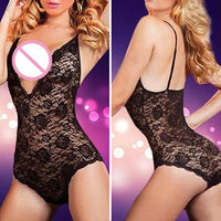 Women Sexy Plus Size V-Neck Lace Floral One Piece Lingerie Backless Sleepwear