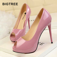 High Heels Shoes Women Classic Pumps Women Heels Sexy Peep Toe Women Wedding Shoes Stiletto 12 cm