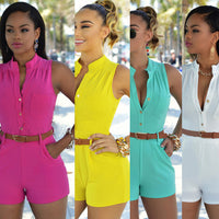 Womens Jumpsuits Office Ladies Sexy Buttons V Neck Plus Size Playsuits Rompers Single Breasted Shorts with Belt