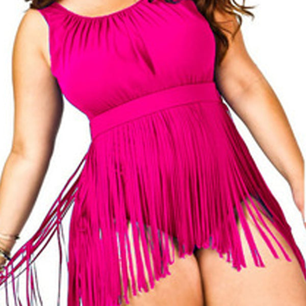 Large Size XL 6XL Monokini Skirt Swimsuit Plus Size Solid Color One Piece Swimwear Women Fringed Sexy Swiming Bathing Suit