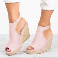 Women Sandals Female Suede Open Toe Cork Wedge Shoes Platform Buckle Strap Fashion Ladies Ankle Strap High Heels Shoes