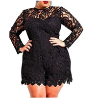 Short Playsuits for Women Clubwear Lace Jumpsuits Plus Size Summer Playsuits Sexy Rompers Jumpsuit White Black Loose Female 5XL