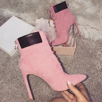 Women Boots High Heels Pointed Toe Cross Tied Boots Woman Shoes Autumn Fashion Princess Bootas Big size 42