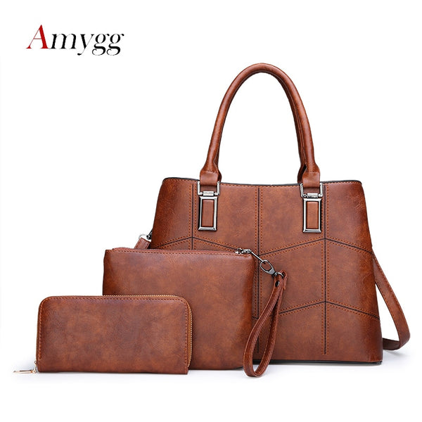 3 Sets High Quality PU Leather Women Handbags Luxury Brands Tote Bag+Ladies Shoulder Messenger crossbody bag+Clutch Feminina Sac