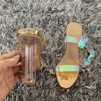 PVC Women Sandals Summer Open Toed High Heels Women Transparent Heel Sandals Woman Party Shoes Discount Pumps 11CM