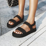 2020 New Summer Women Flat Sandals Rope Female Beach Shoes Wedge Shoes High Heel Comfortable Platform Sandals Sandalia Feminina