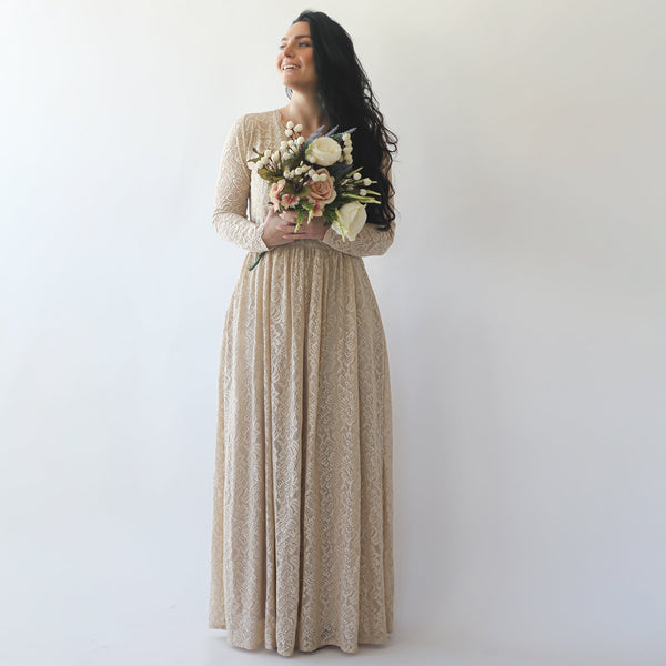 Curve & Plus Size Sleeves Lace Wedding Dress,Long Sleeves Champagne Boho Wedding Dress With Pockets 1269