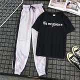 2 Piece Outfits For Women Letter Casual T Shirt Long Striped Long Pants Elastic High Waist Sport Streetwear Plus Size Summer Set