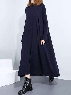 Large size women's dress plus size 5XL 6XL 8XL 9XL 10XL high collar long sleeve loose large size blue dress