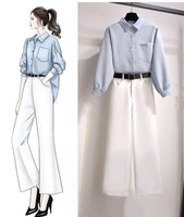 Elegant office ladies Pants Set L-2XL Loose Plus Size Set Korean style Women 2 Piece Set wide leg pants Outfits Fall