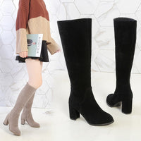 cool woman width leg knight boots 7cm mid heels women's slip-on Knee high Boots plus size 41 42 43 leather wide leg Long shoes