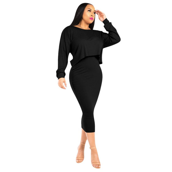 Plus Size Ribbed 2 Piece Matching Set Women Long Batwing Sleeve Crop Top+Tank Bandage Dress Sweat Suits Fall Winter Club Outfits