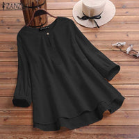 Women's Blouse Vintage Ladies Cotton Solid Shirts Casual Blusas 3/4 Sleeve O Neck Work Office Tunic Tops Plus Size 7