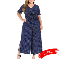 Plus Size Polka Dot Print Wrap V Neck Bow Tie Ruffles Playsuit 4Xl Summer Short Puff Sleeve Side Split Wide Leg Romper Overalls