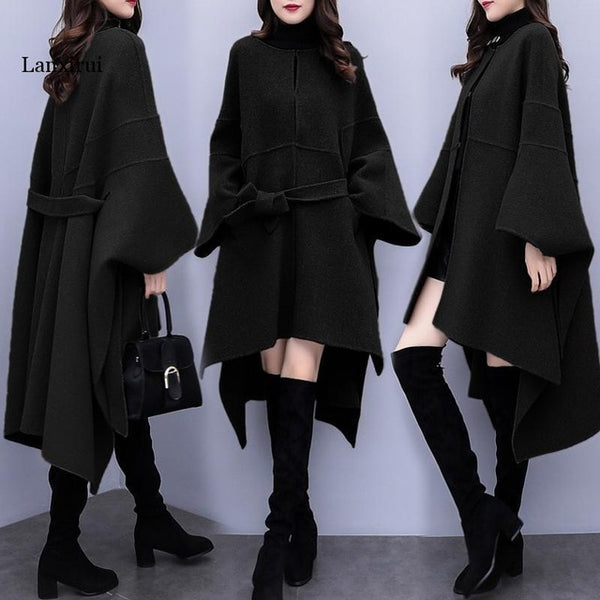 Plus size Women Cloak woolen coat Autumn Winter New popular Woolen coat Women's Korean Loose Long High quality Overcoat 3XL