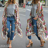 Women Loose Floral Print Blouse Summer Casual Boho Chiffon Coat Shawl Kimono Cardigan Tops Plus Size 3XL