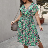 Summer new plus size dress 6XL 7XL 8XL 9XL 10XL bust sexy V-neck fashion raglan sleeve button hem split dress