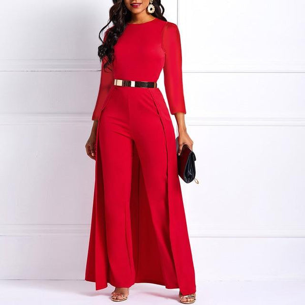 Plus Size High Waist Plain Long Sleeve Jumpsuit Women Elegant Formal Party Swallowtail Slim Autumn Ladies Red Wide Leg Jumpsuits