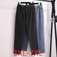 New spring summer plus size jeans for women large loose casual blue black straight denim long pants 3XL 4XL 5XL 6XL 7XL