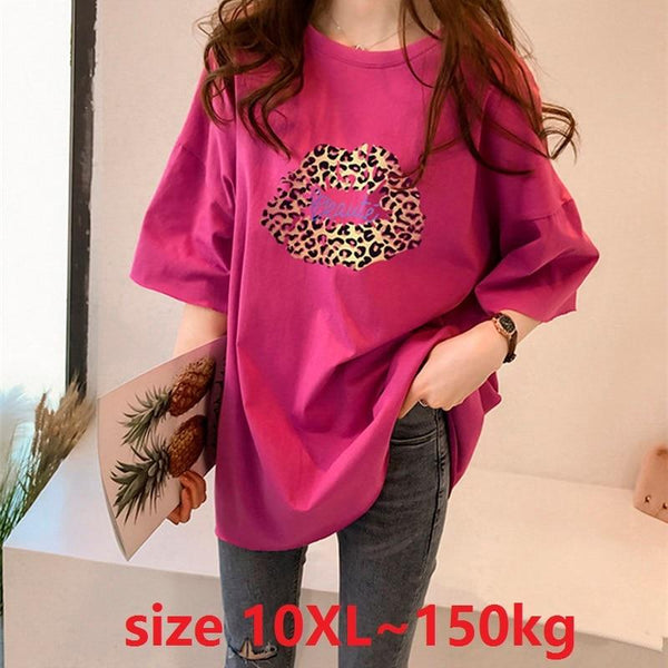 plus size 6XL 7XL 8XL 9XL 10XL big t-shirt women's T-shirt summer O neck short-sleeved Leopard Print Large size tshirt