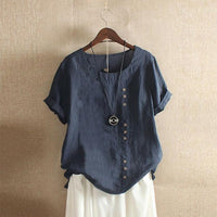 Summer Women Cotton Linen Baggy Blouse Short Sleeve Loose Elegant Ladies Linen Blouse Shirt Plus Size