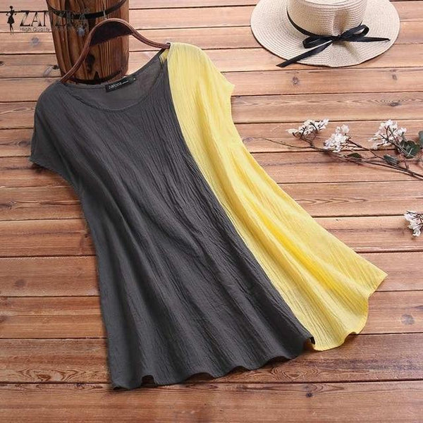 Summer Spliced Solid Baggy Sleeveless Tops Women shirts Sexy Cotton Round Neck Tee Casual Shirt Solid Plus Size