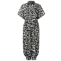 Plus Size Summer Romper Women Sexy Leopard Print Retro Jumpsuits Short Sleeve Casual Loose Buttons Cargo Pants Overalls