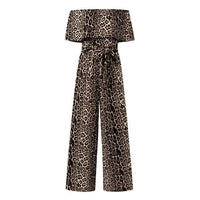 5XL Sexy Off Shoulder Long Jumpsuits Celmia Women Leopard Print Short Sleeve Rompers Sashes Fashion Bodycon Plus Size Overalls 7