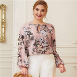 Plus Size Pink Keyhole Tie Neck Lantern Sleeve Botanical Blouse Women Spring Floral Casual Womens Tops and Blouses