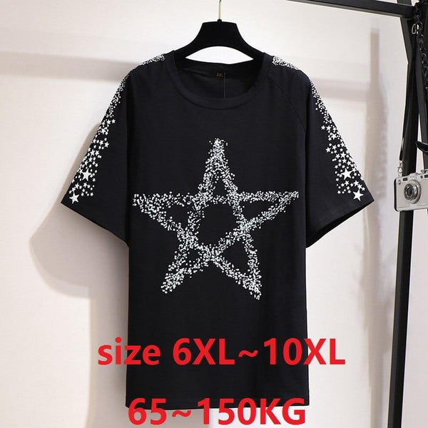 Women Summer Tops Plus Size 7X 8XL 9XL 10XL Big Clothes for Women Black T-Shirt for Women Large Tshirt Tops Tees