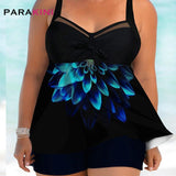 Tankini Plus Size Swimwear Flower Print Open Back Swimdress &Shorts Large Size Swimsuit Women Beach Wear Bathing Suit