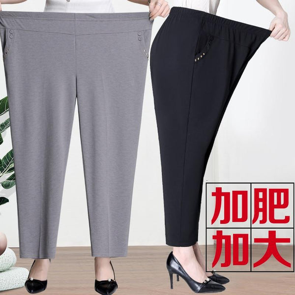New Extra large size Straight Pants Trousers Middle-aged Womens Summer Thin Loose Trousers Mother Clothing Plus size Long Pants