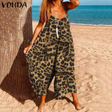 Leopard Rompers Women Jumpsuits VONDA 2020 Summer Sleeveless Palysuits Holiday Beach Overall Casual Pants Plus Size Bottoms